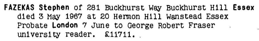 June 7th 1967 probate record for Dr. Stefan Fazekas