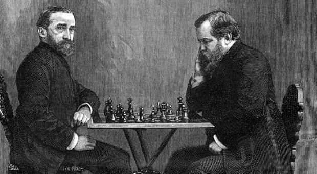Johannes Zukertort playing Wilhelm Steinitz