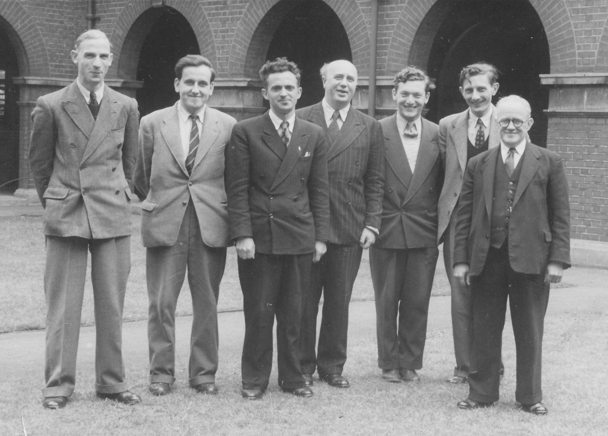 From the 1952 Ilford Congress (30 May - 2 June) and originally published in BCM, July 1952, page 187. (l-r) : Harold Israel, Alan Phillips, Bob Wade, Otto Friedman, Abe Yanofsky, Alfred William Bowen and Harold Meek. Thanks to John Saunders and Leonard Barden