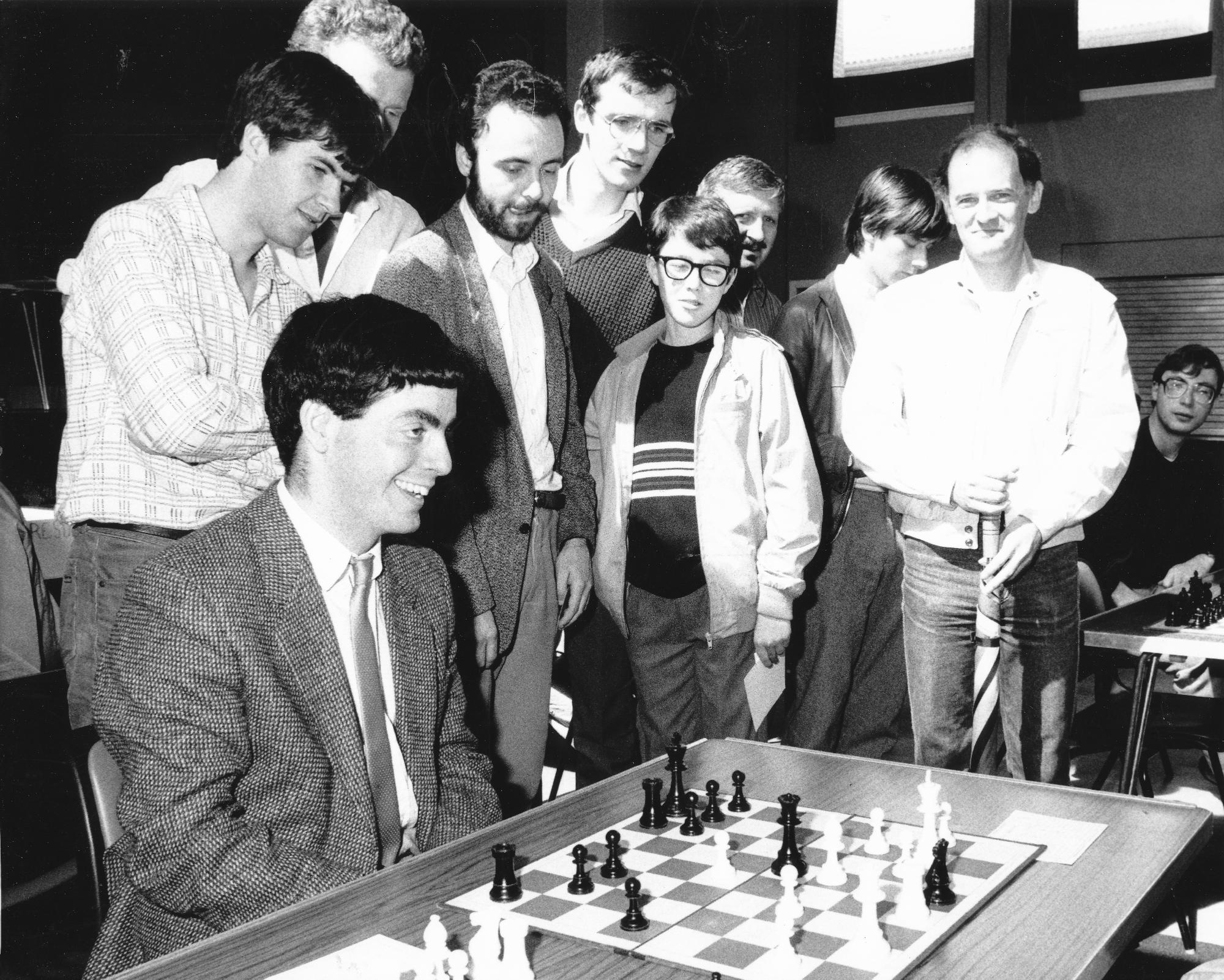 GM Paul Motwani has just played a brutal double check in the 1990 Scottish Lightning Championship. Photograph by Alistair Mulhearn