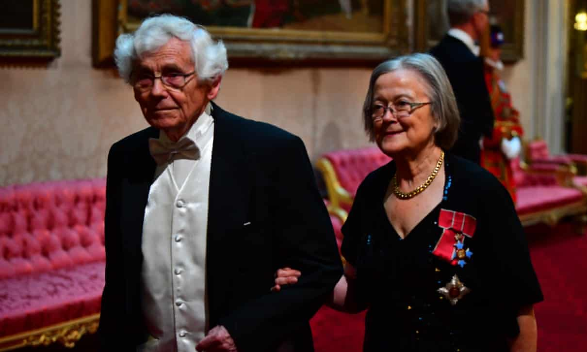 Julian Farrand with Lady Hale at a Buckingham Palace reception. Photo : Press Association