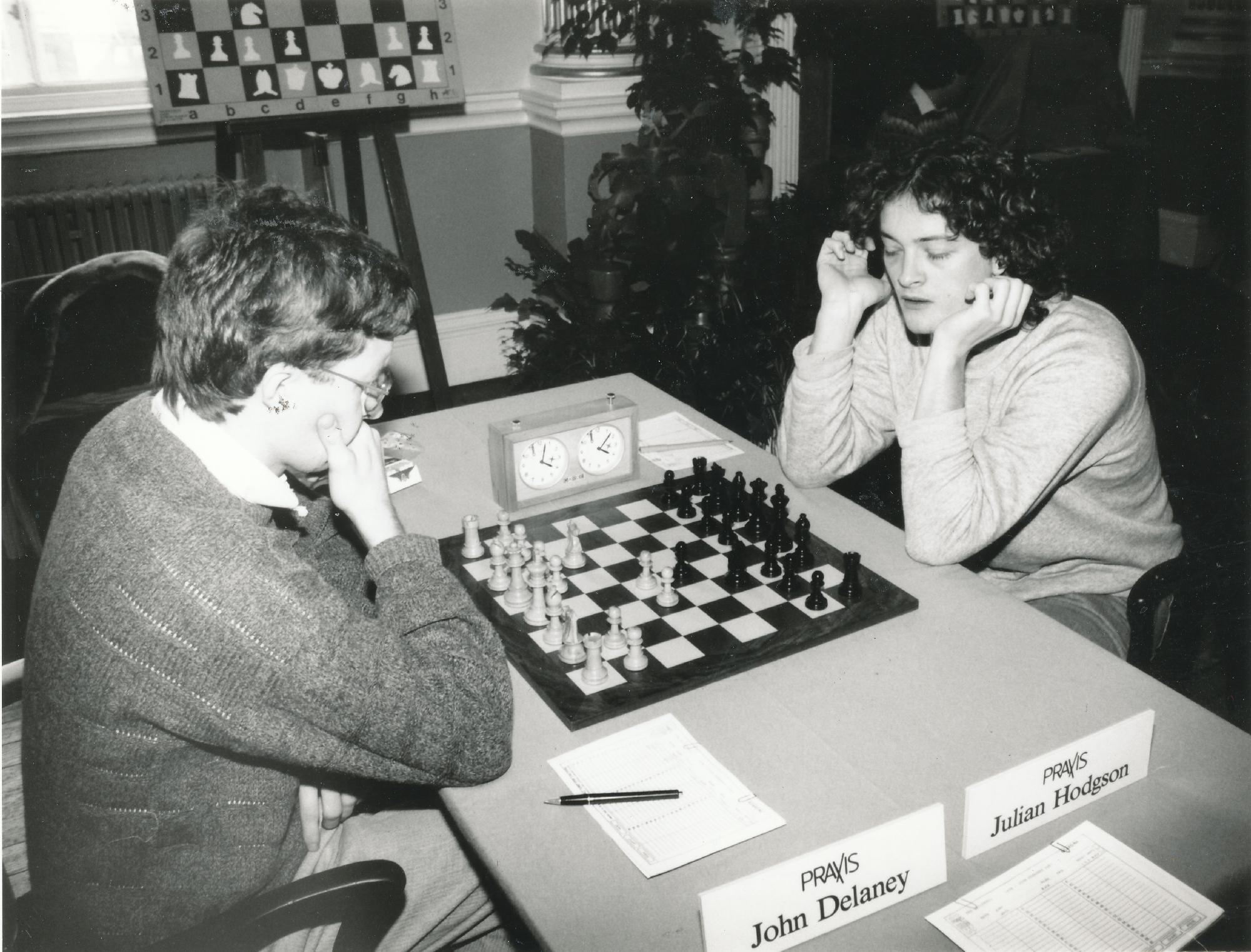 John Delaney plays Julian Hodgson at the Bath Zonal Tournament in 1987