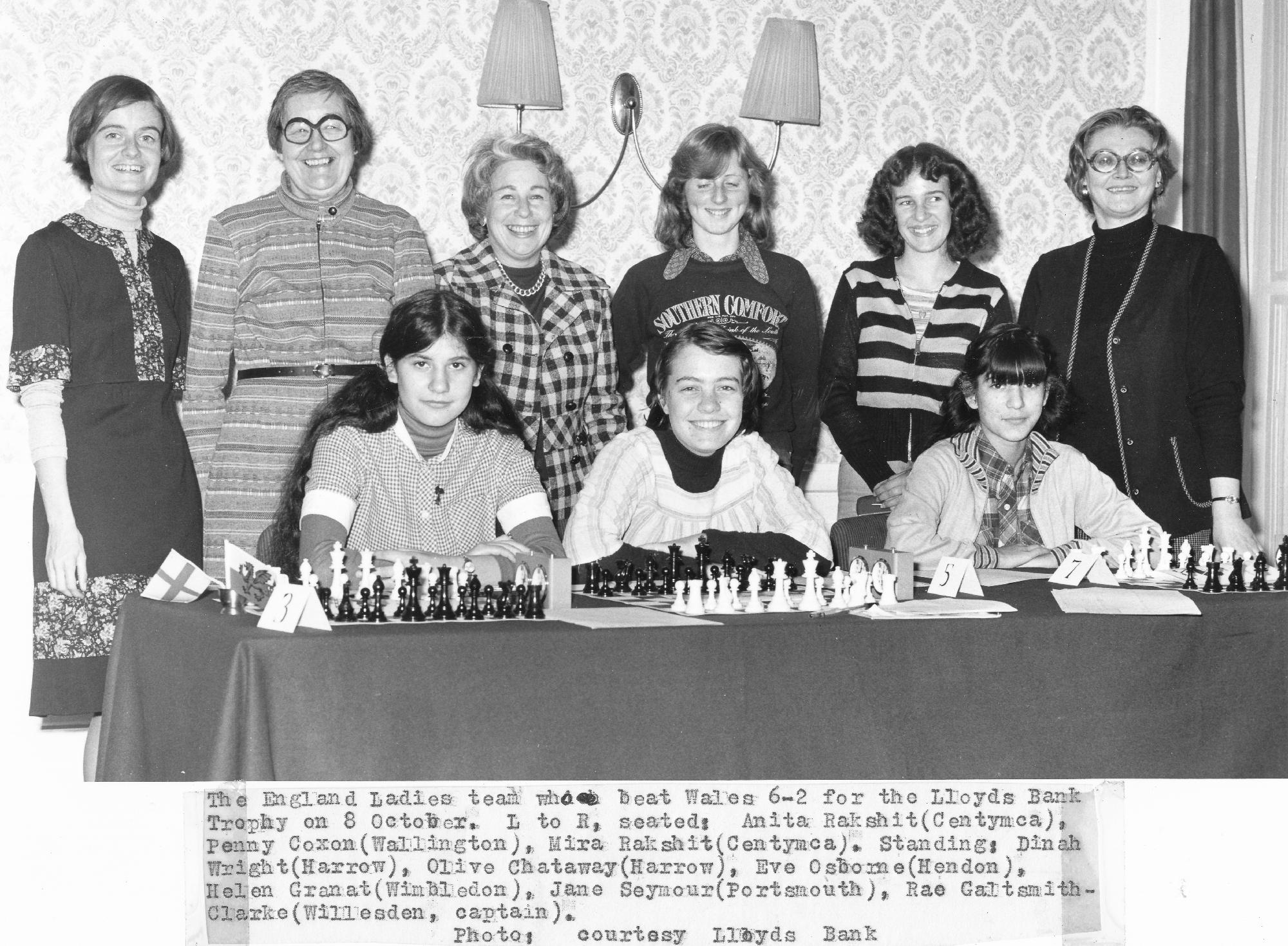 Dinah Wright (far left, standing) with her England team mates (see caption) for a Lloyds Bank sponsored match with Wales