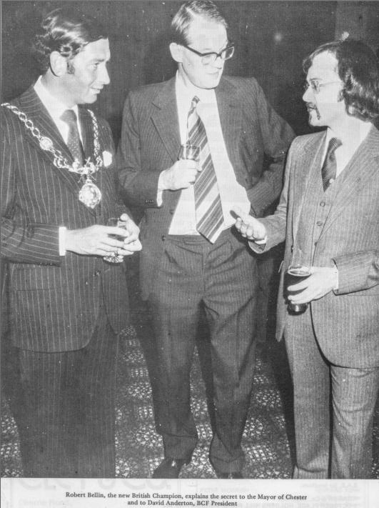 From the BCF 1979-90 Year Book of Chess : Robert Bellin, the new British Champion, explains the secret to the Mayor of Chester (?) and to David Anderton,  BCF President