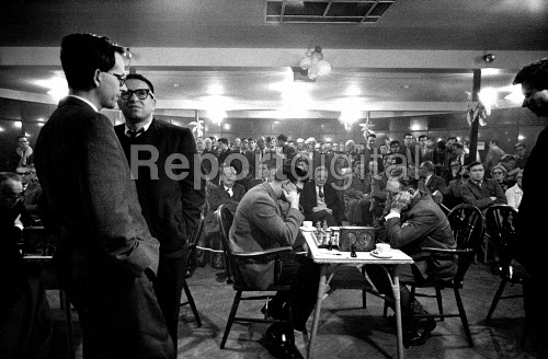 03-01-1962 37th Hastings International Chess Congress, 1962. World Champion Mikhail Botvinnik (R) playing against John Littlewood of England