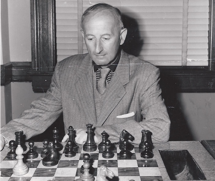 Imre Konig at the Mechanics' Institute in the 1950s (Photo: Mechanics' Chess Club Archives)
