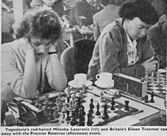 At Hastings 1959-1960 : Yugoslavia's red-haired Milanka Lazarevic and Britain's Eileen Tranmer ran away with the Premier Reserves (afternoon event).