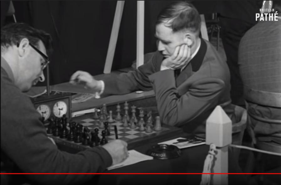 John Littlewood playing Wolfgang Unzicker in round one of the 1969-70 Hastings International Congress