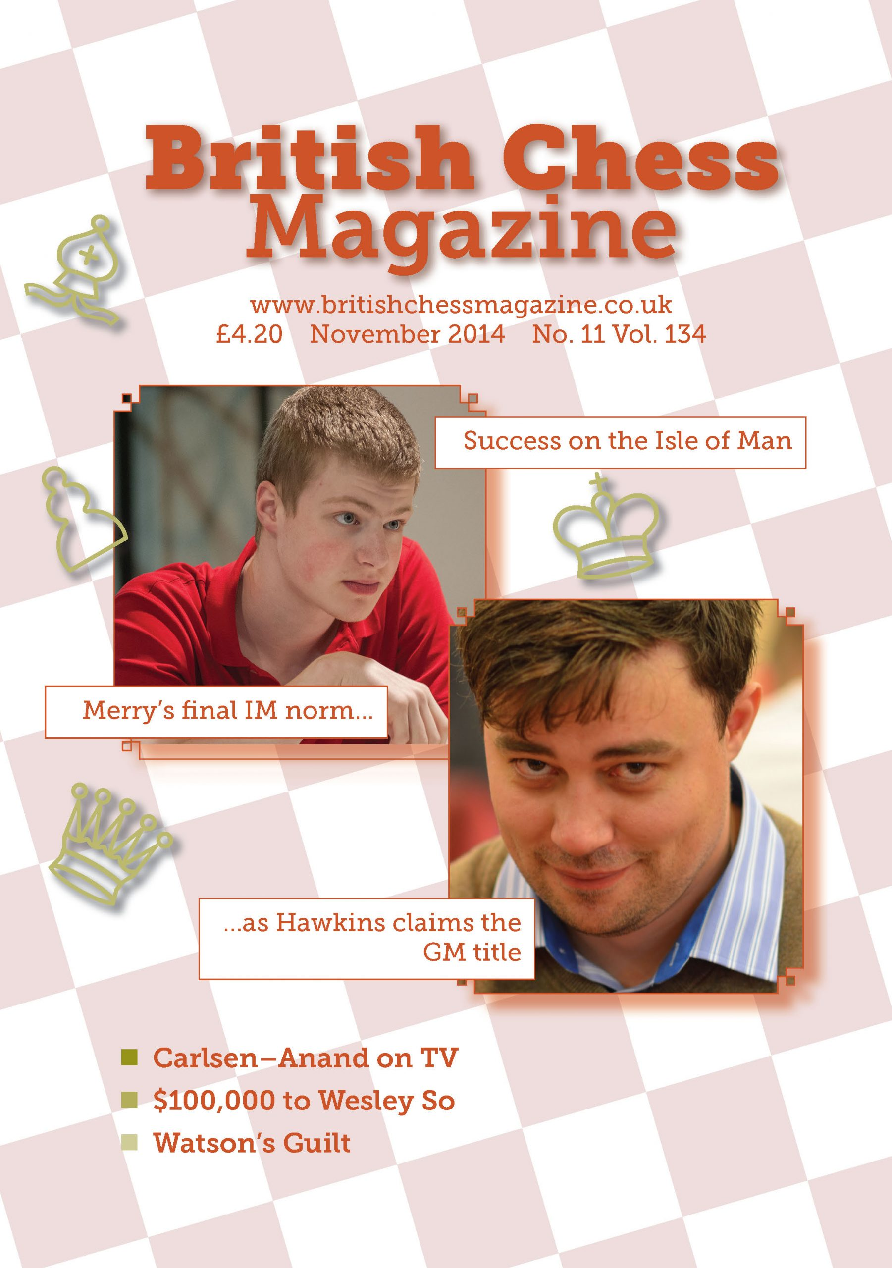 Alan Merry features on the front cover of the November 2014 issue of British Chess Magazine