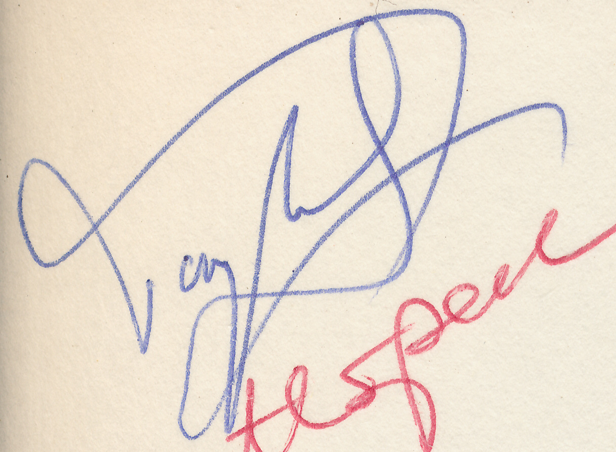 Tony's signature from a presentation copy of Pachman's Decisive Games from Anglo-German match of February 1979 at Elvetham Hall