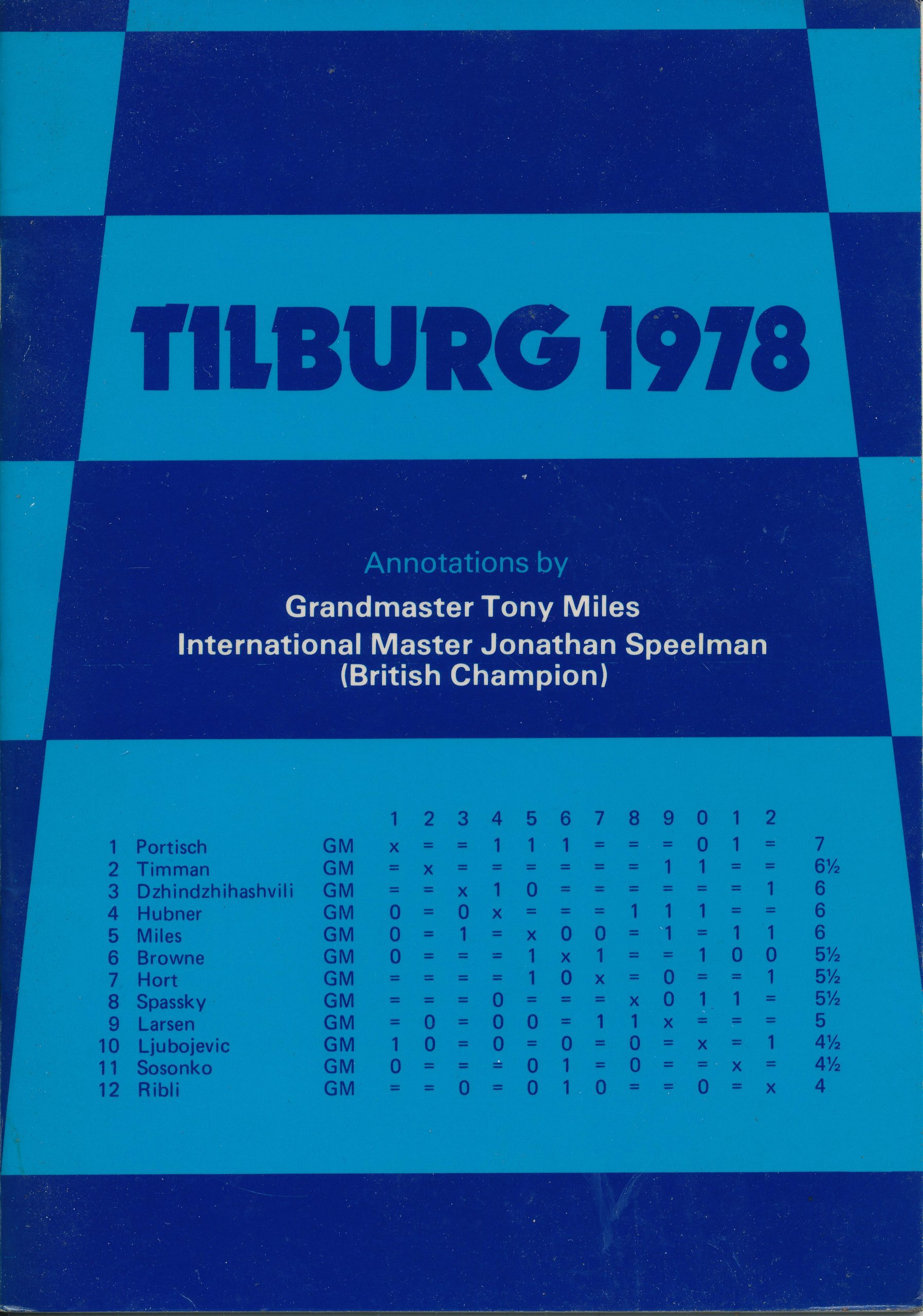 Tilburg 1978, Tony Miles & Jonathan Speelman, Master Chess Publications, 1978