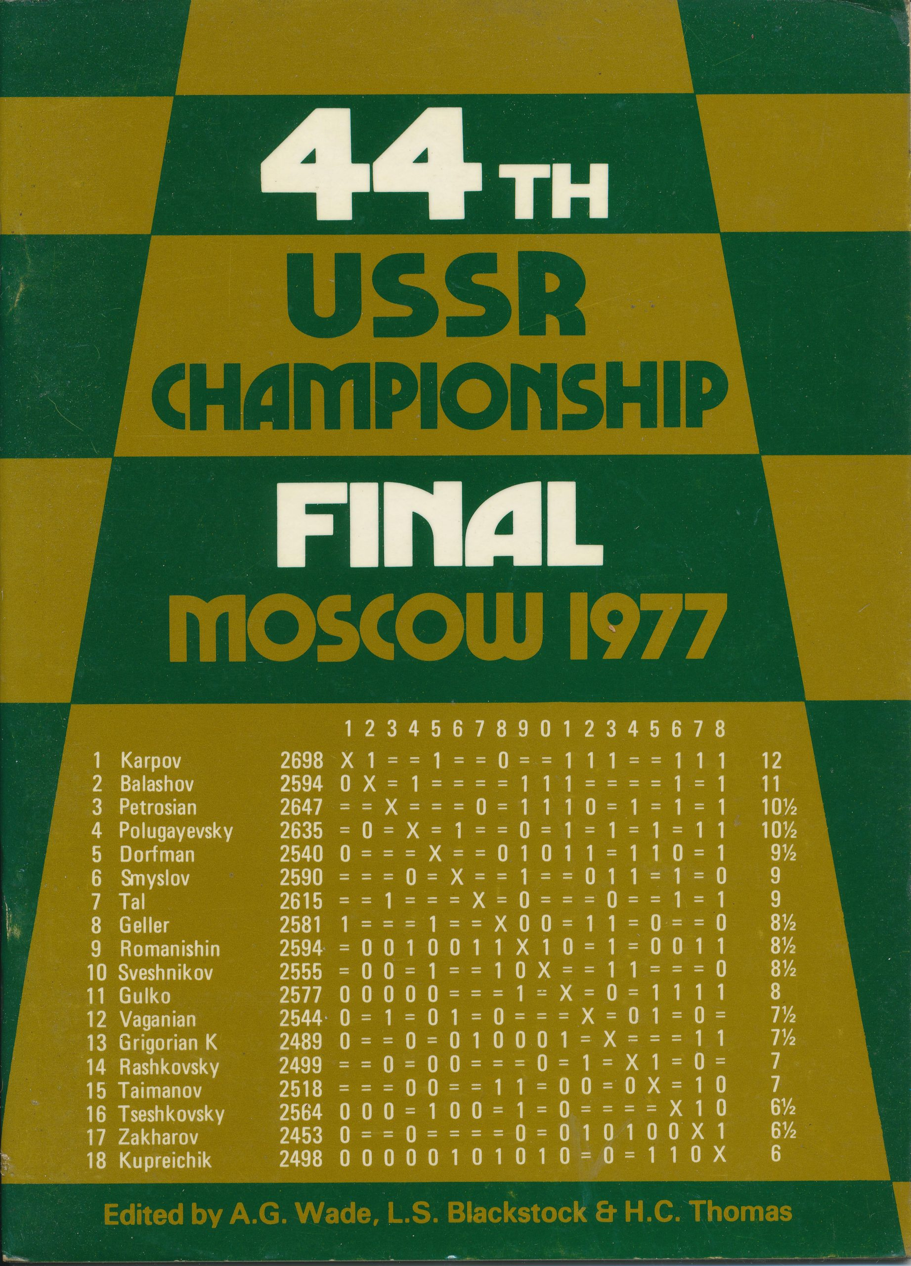 44th USSR Championship Final Moscow 1977, RG Wade, LS Blackstock and HC Thomas, Master Chess Publications, 1977