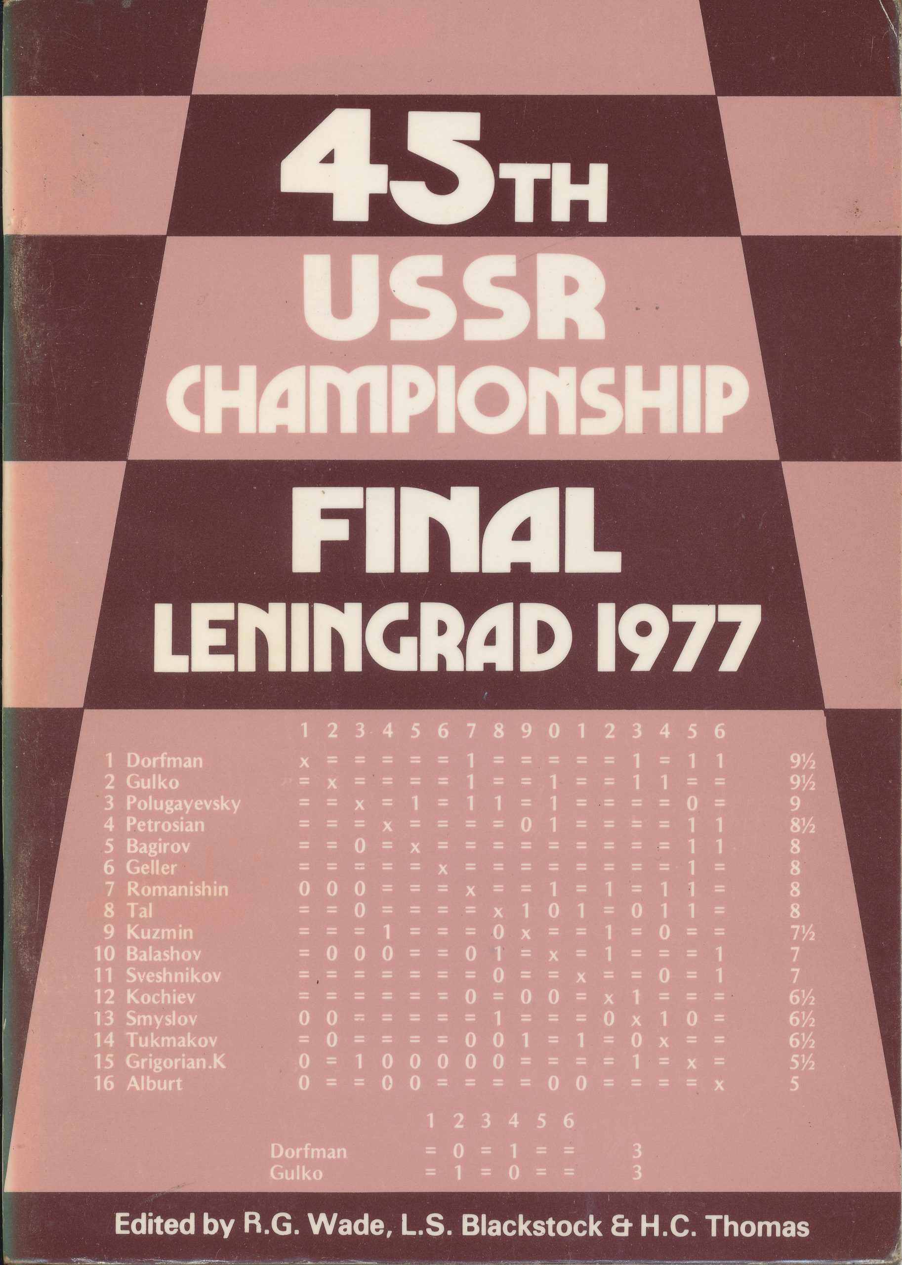 45th USSR Championship Final Leningrad 1977, RG Wade, LS Blackstock and HC Thomas, Master Chess Publications, 1977