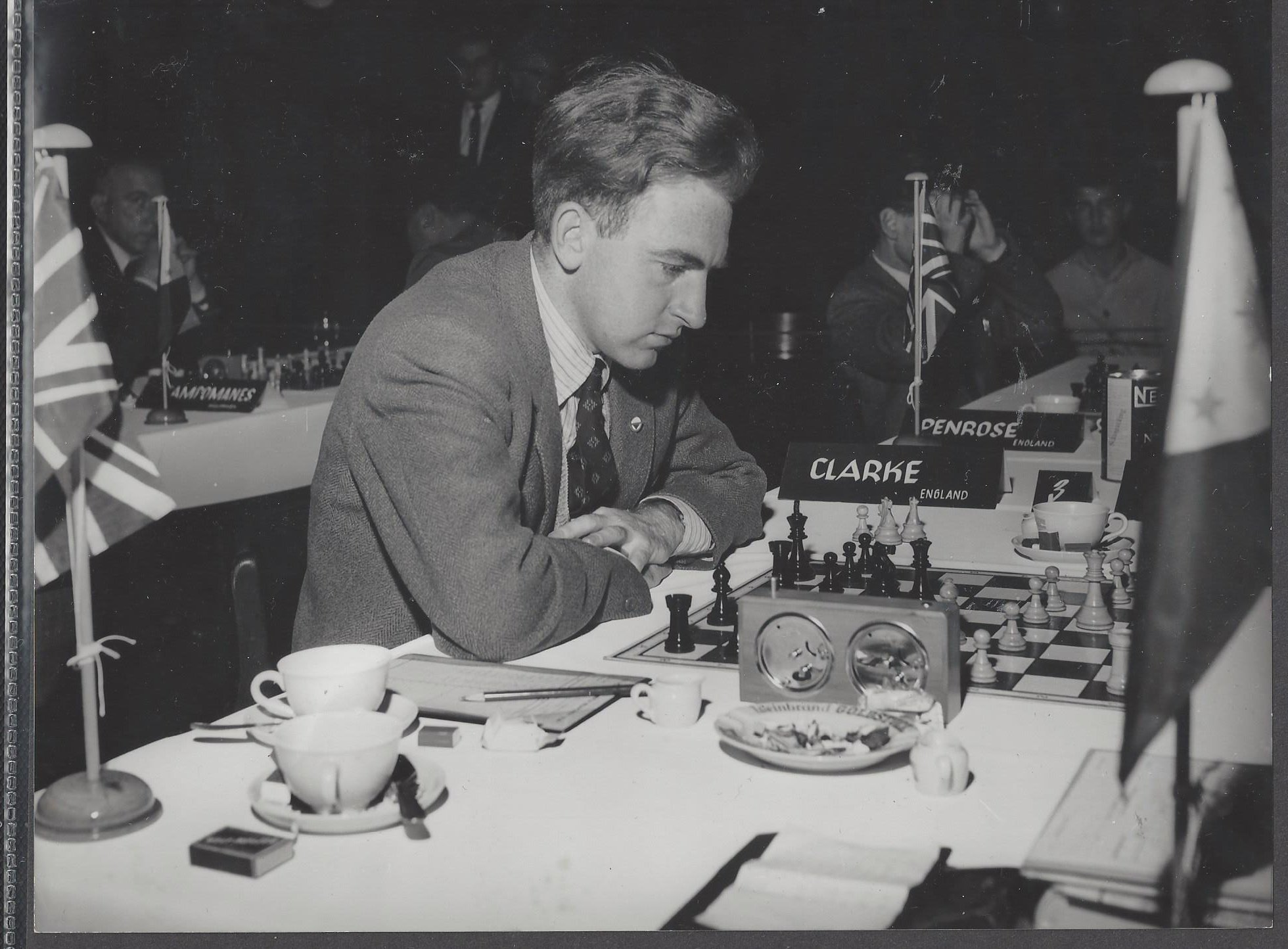 Meliton Borja of the Philippines v. Peter Clarke from the 1958 Munich Olympiad played on October 9th 1958. The game was drawn in 49 moves. From the collection of David Jarrett with many thanks.