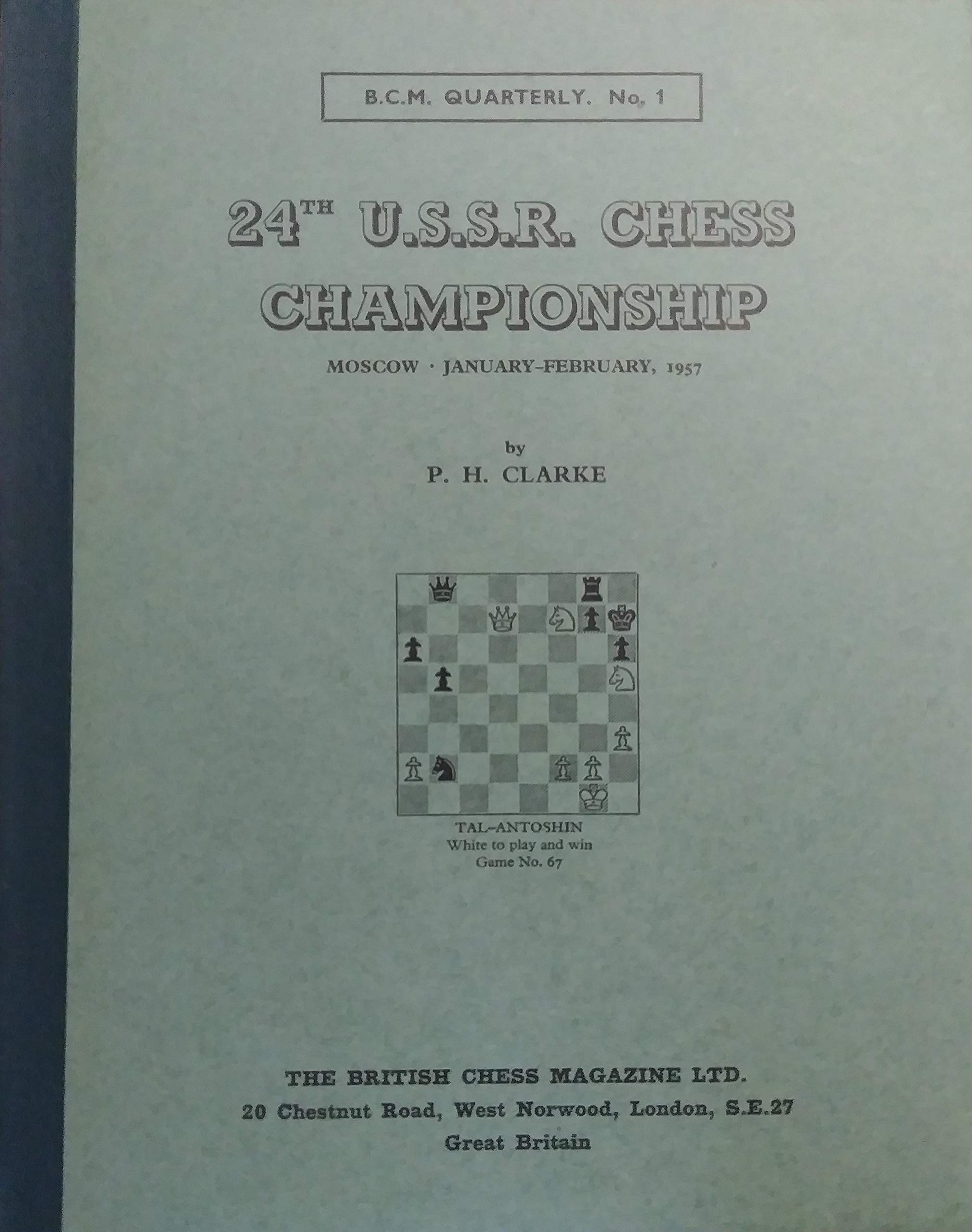 24th USSR Chess Championships, PH Clarke, British Chess Magazine, 1959