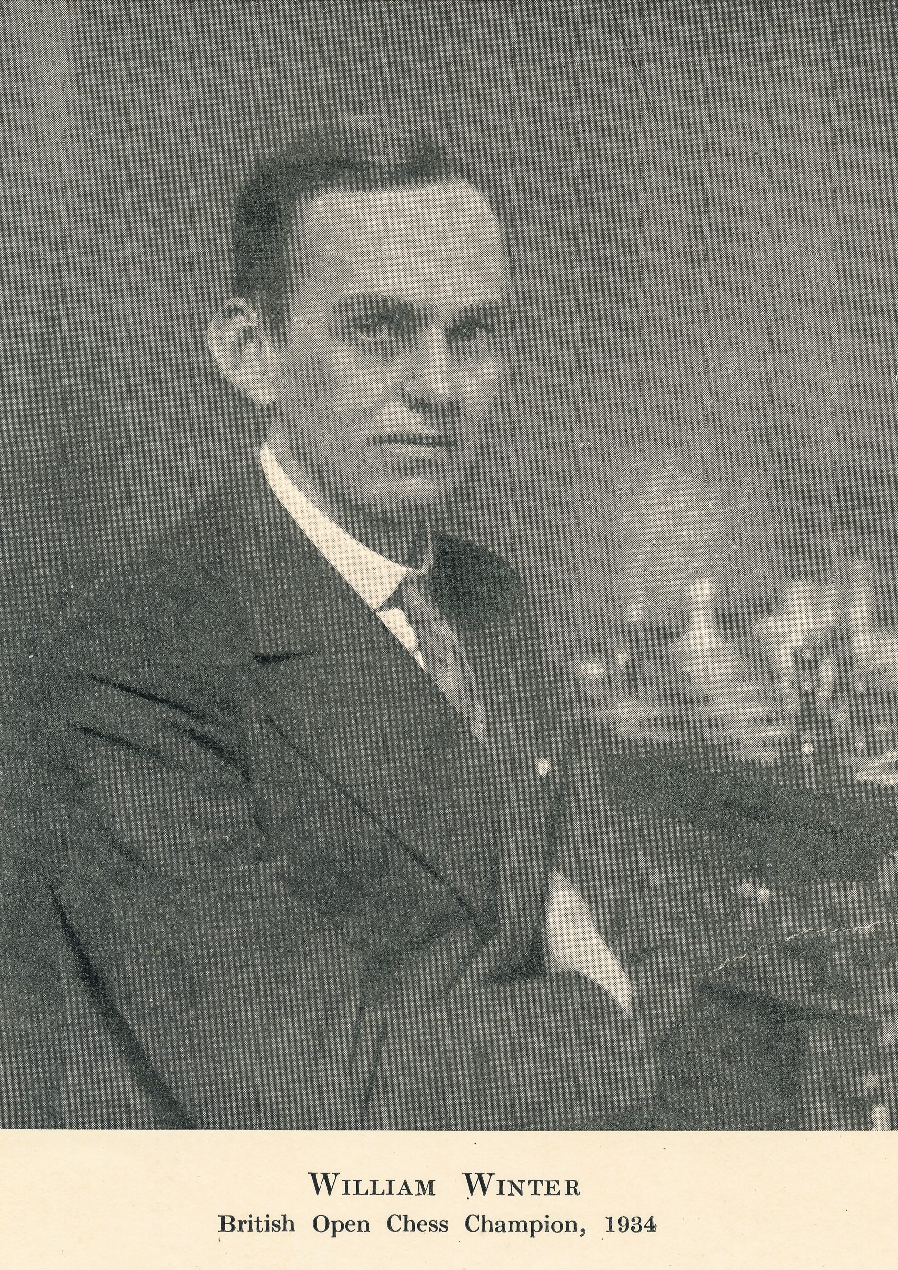 William Winter, British Open Chess Champion, 1934. The verso frontispiece of Chess for Match Players, William Winter, London, Lawrence & Wishart, 1st edition. 1936