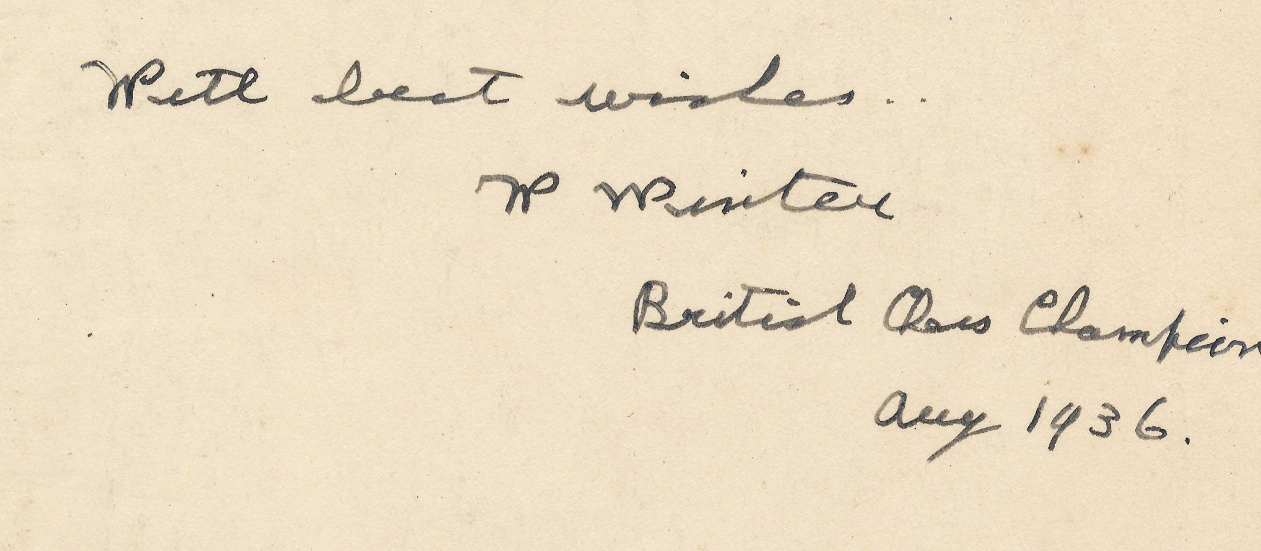 Author's inscription from Chess for Match Players, William Winter, London, Lawrence & Wishart, 1st edition. 1936