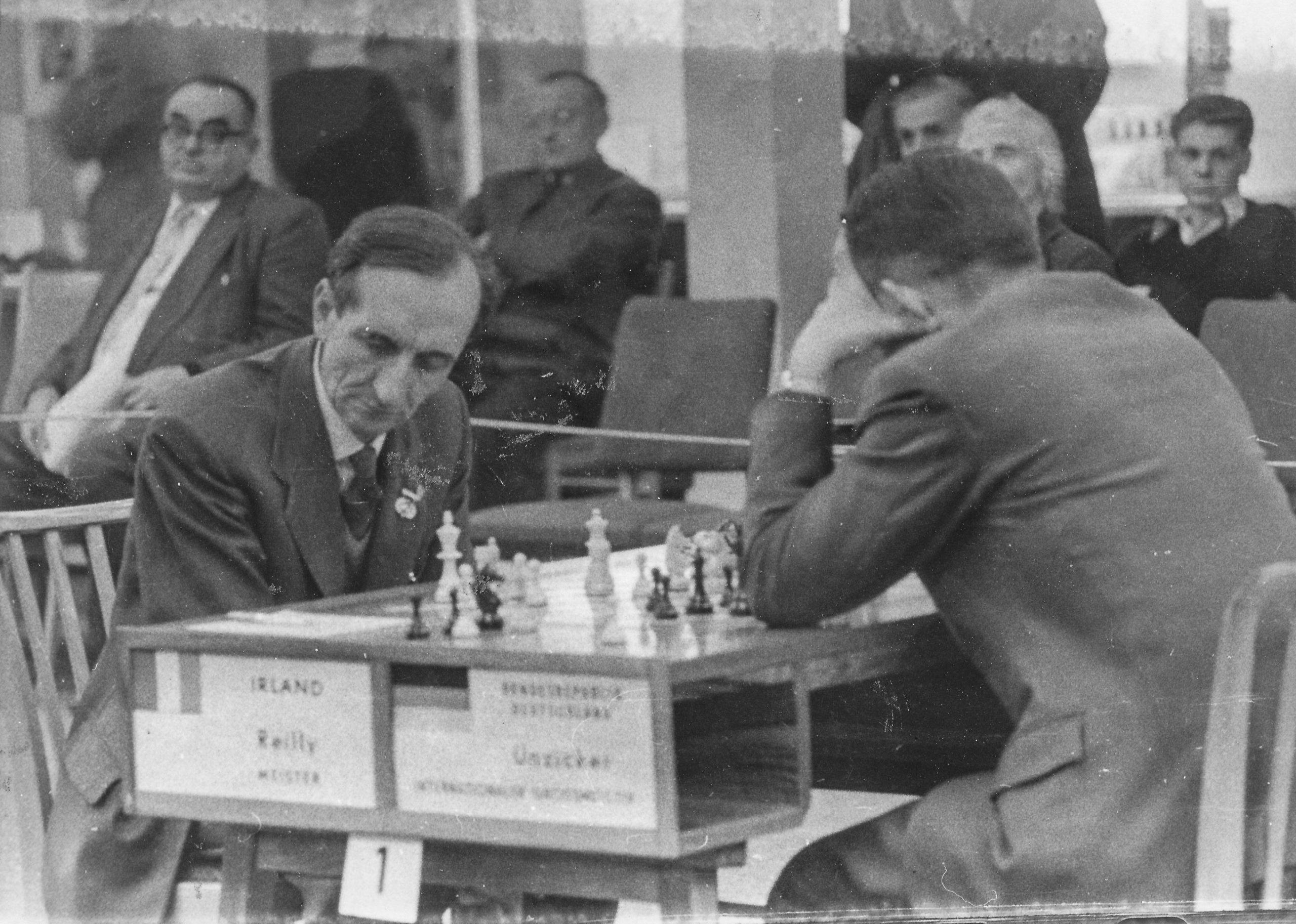 Brian Reilly playing Wolfgang Unzicker on board 1 during the preliminaries of the 1960 Leipzig Olympiad.