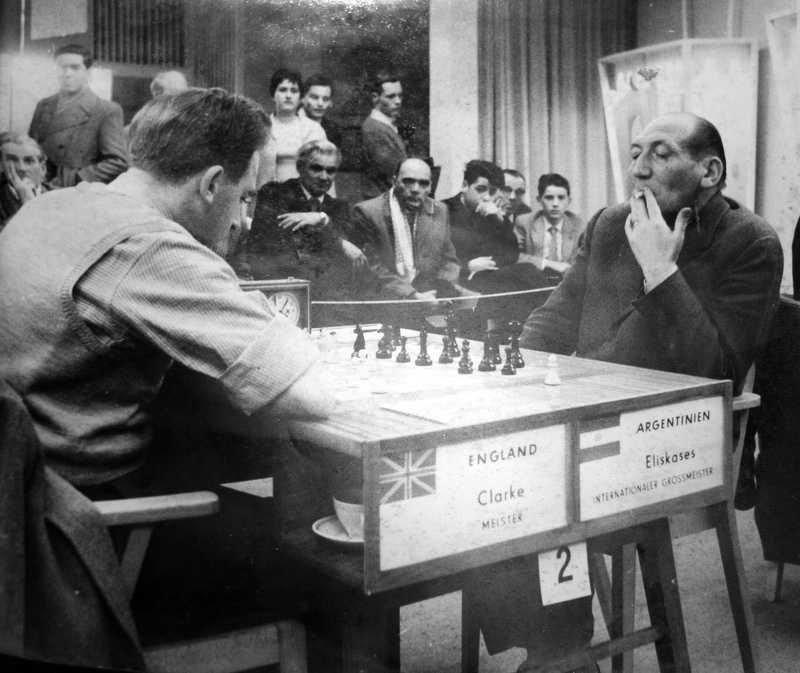 Peter plays Erich Gottlieb Eliskases at the 1960 Leipzig Olympiad