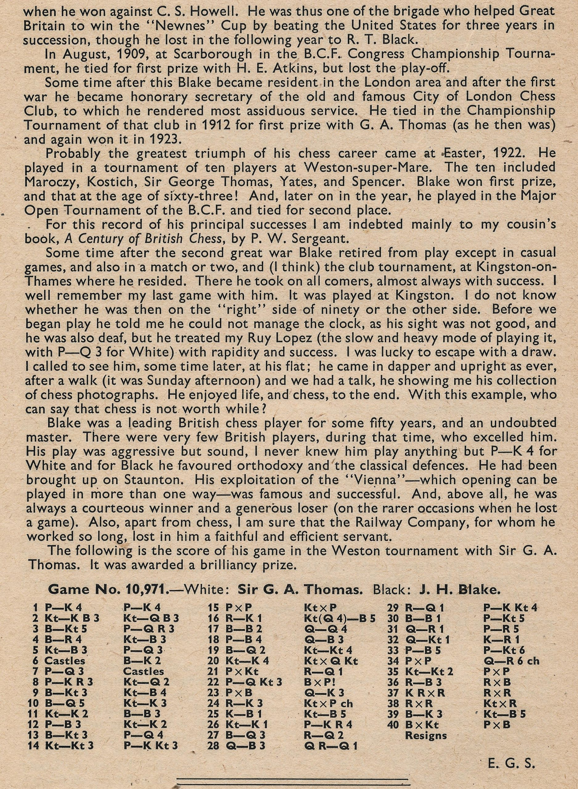 British Chess Magazine, Volume LXXII (72, 1952), Number 2 (February) pp. 44 - 46