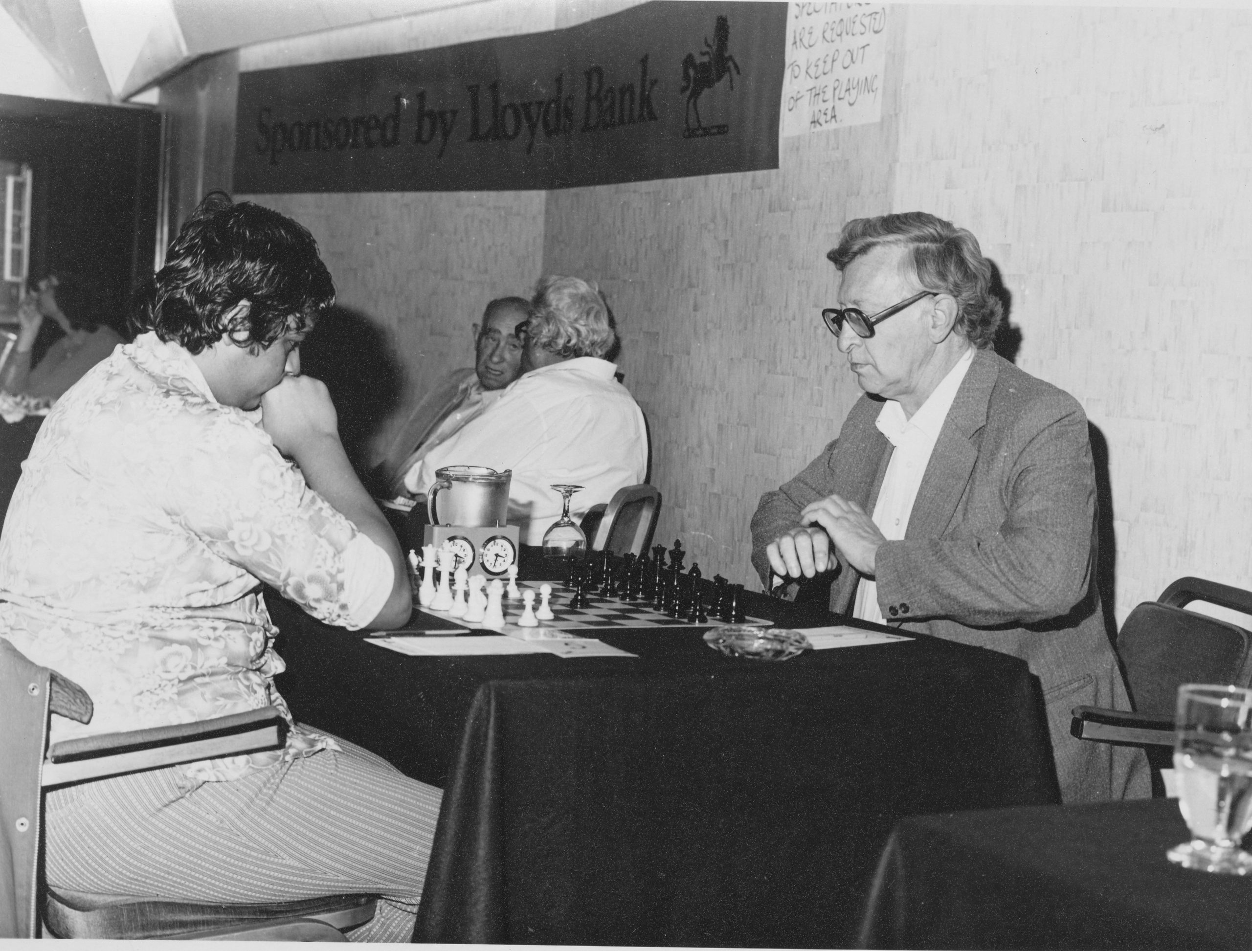 IM Vaidyanathan Ravikumar v. Vassily Smyslov, Lloyds Bank Open, round 6, 30th August 1981. The game was drawn in 33 moves.