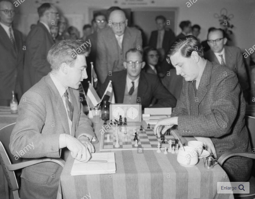 Peter Hugh Clarke (left) and Donner (right) Date: November 26, 1957 at the Wageningen Zonal, The Netherlands. Courtesy of Alamy