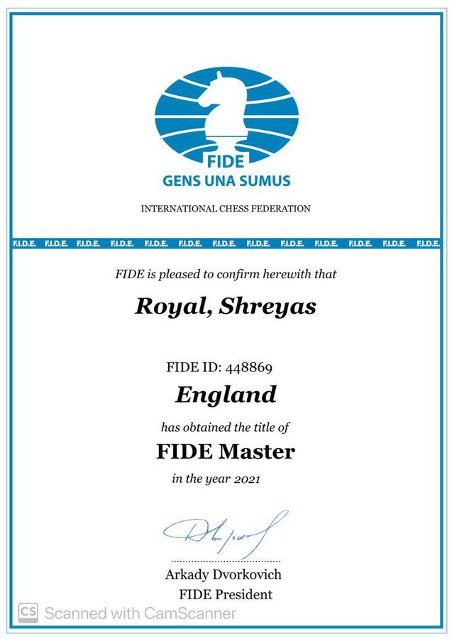 FIDE FM Certificate for Shreyas Royal