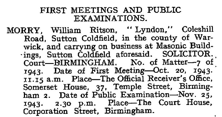 WRM appears in the London Gazette in 1943.