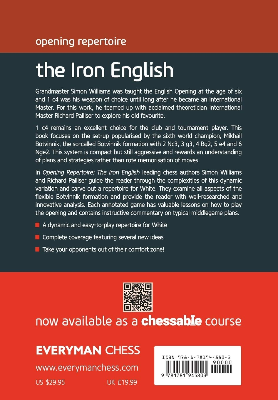 The Iron English, Richard Palliser & Simon Williams, Everyman Chess, 2020, ISBN-13 : 978-1781945803
