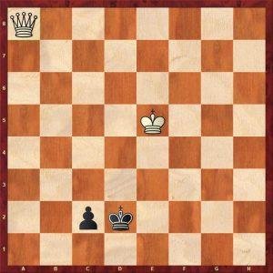 Q v P (king outside winning zone) White to move