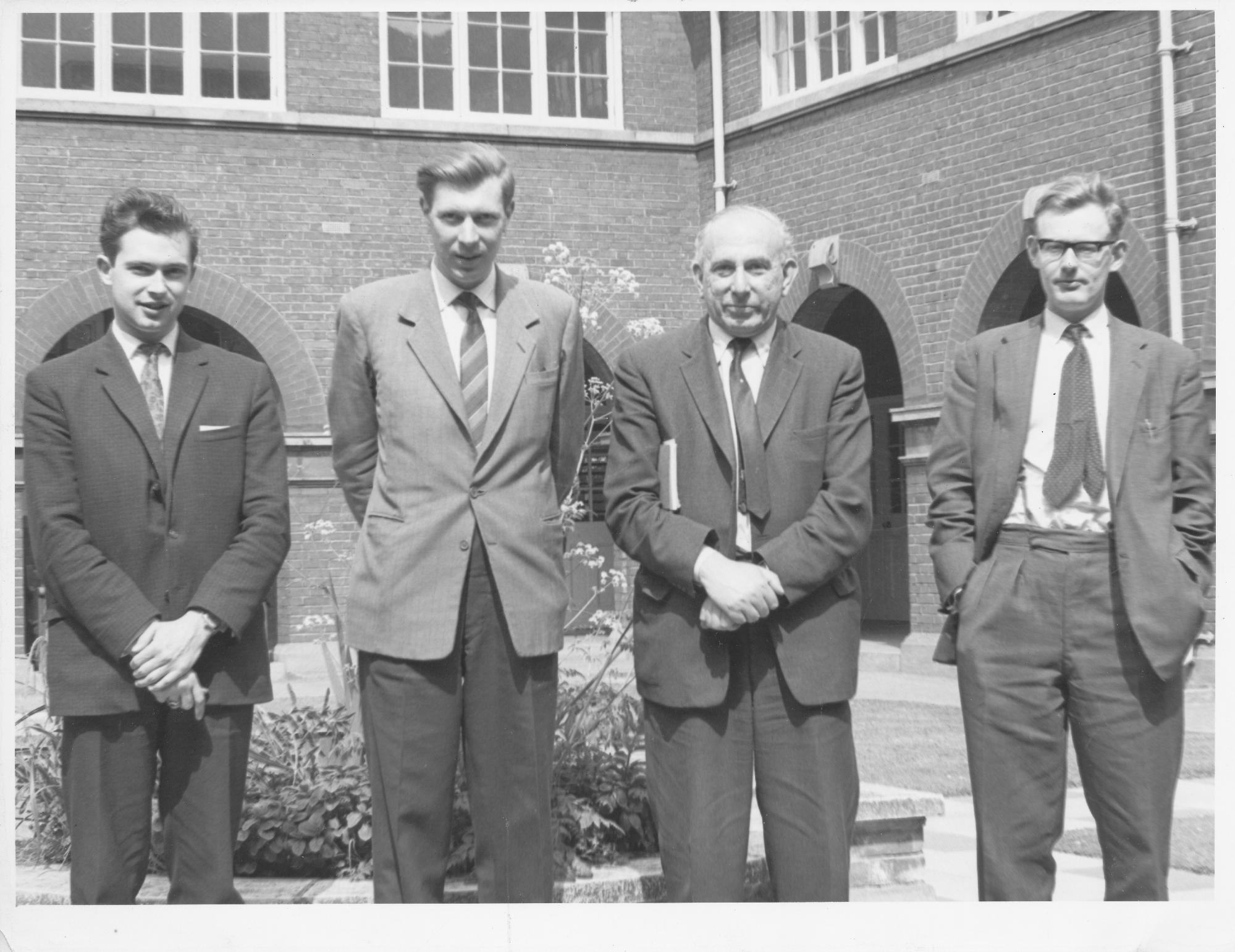 Two thirds of the BCF team for the 1964 Tel Aviv Olympiad. : Owen Hindle, Michael Franklin, Harry Golombek and Michael Haygarth