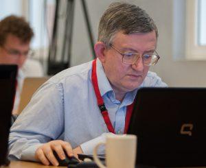 John Saunders at the 2013 FIDE Candidates event, London, Courtesy of John Upham Photography